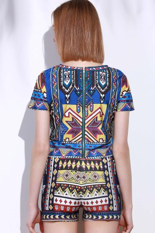 Outfit Vintage Geometric Printed Short T-Shirt+High Waist Shorts Twinset For Women - S COLORMIX Mobile