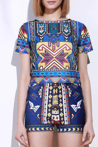 Outfit Vintage Geometric Printed Short T-Shirt+High Waist Shorts Twinset For Women COLORMIX M