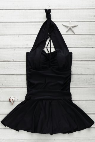 Outfits Halter Ruched One-Piece Swimsuit BLACK 2XL
