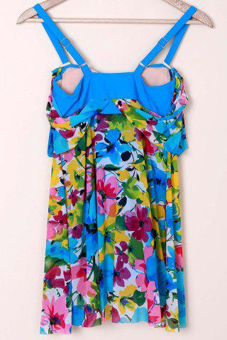 Latest Graceful Plunging Neck One-Piece Floral Print Asymmetrical Swimwear For Women - 2XL BLUE Mobile