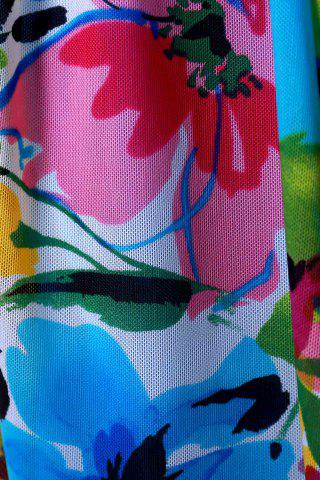 Hot Graceful Plunging Neck One-Piece Floral Print Asymmetrical Swimwear For Women - XL BLUE Mobile