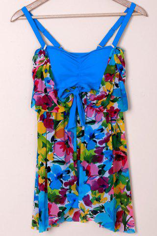 Sale Graceful Plunging Neck One-Piece Floral Print Asymmetrical Swimwear For Women - XL BLUE Mobile