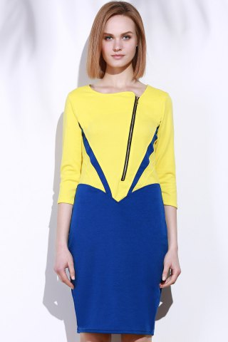 Discount Elegant Square Neck 3/4 Sleeve Color Block Zippered Women's Dress - M YELLOW Mobile