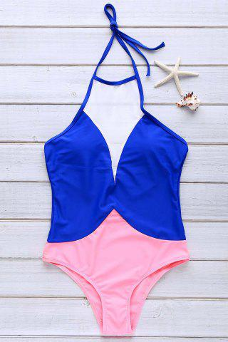 Stylish Round Collar Halter Mesh Spliced One-Piece Swimsuit For Women - Sapphire Blue - Xl