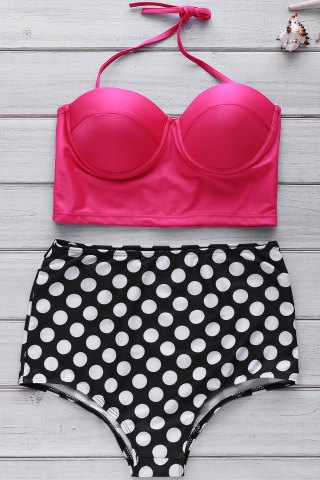 Outfits Bustier Bikini Top and Polka Dot High Waisted Bottoms - XL AS THE PICTURE Mobile