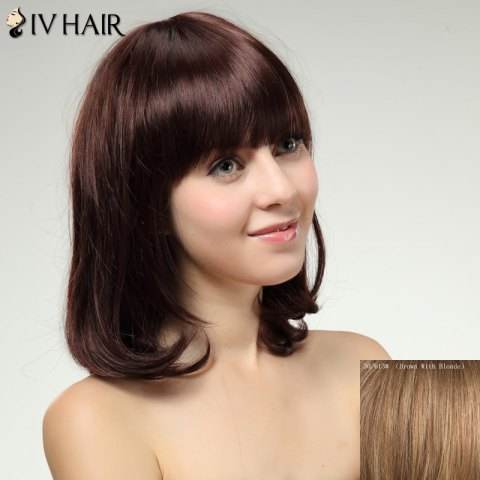 Hot Charming Siv Hair Full Bang Long Women's Human Hair Wig