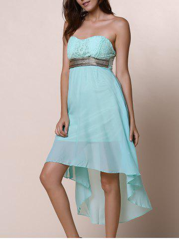 Trendy Strapless High Low Cocktail Night Out Chiffon Dress BLUE L