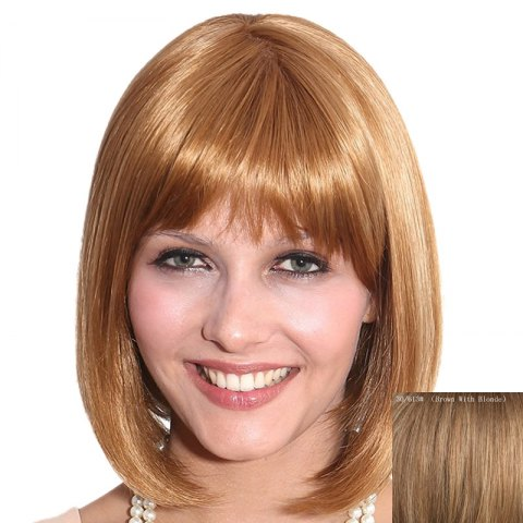 Discount Bob Style Full Bang Capless Vogue Straight Short Human Hair Wig For Women
