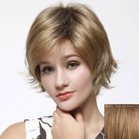 Affordable Ladylike Multicolor Short Capless Towheaded Straight Capless Human Hair Wig For Women
