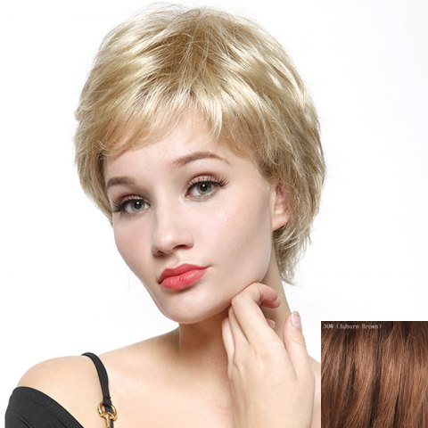 Unique Fashion Fluffy Natural Wave Capless Human Hair Short Wig - AUBURN BROWN #30  Mobile