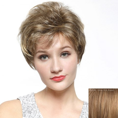 Outfit Ladylike Side Bang Capless Shaggy Short Curly Human Hair Wig