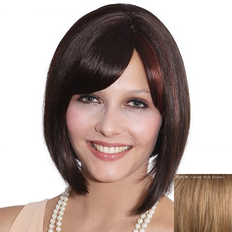 Sale Elegant Straight Side Bang Bob Style Short Capless Human Hair Wig For Women