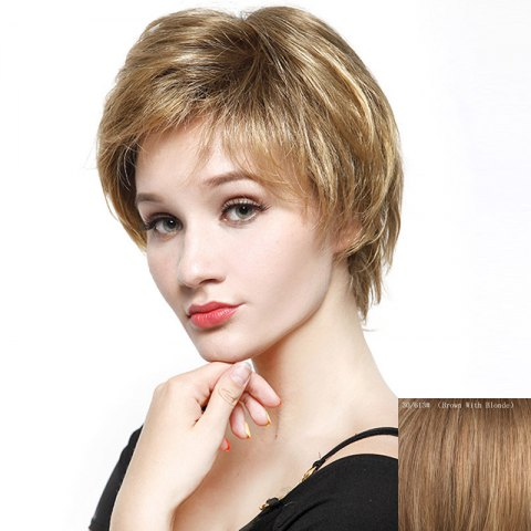 Online Fluffy Short Layered Natural Straight Fashion Side Bang Capless Human Hair Wig For Women