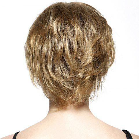 Unique Fluffy Short Layered Natural Straight Fashion Side Bang Capless Human Hair Wig For Women - GOLDEN BROWN WITH BLONDE  Mobile