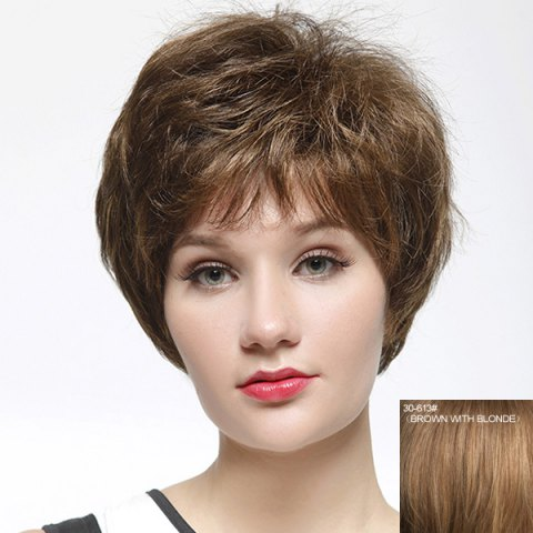 New Shaggy Short Natural Straight Stylish Full Bang Capless Human Hair Wig For Women