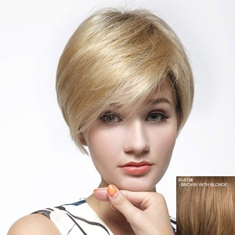 Cheap Fashion Multicolor Short Capless Graceful Straight Side Bang Human Hair Wig For Women