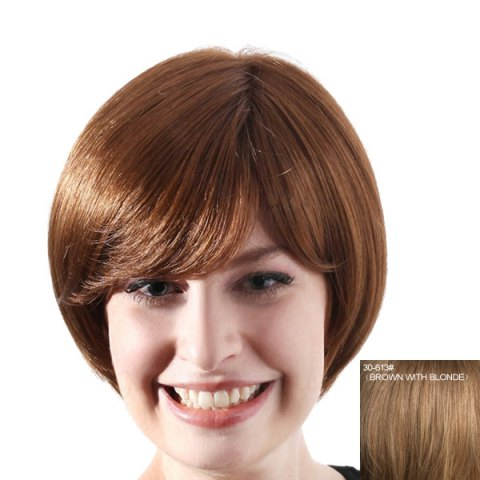 Discount Trendy Short Hairstyle Straight Side Bang Capless Human Hair Wig