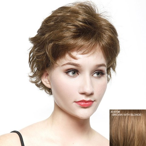 Latest Bouffant Short Wave Fashion Inclined Bang Real Natural Hair Wig For Women BROWN WITH BLONDE