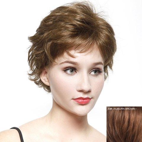 Outfits Bouffant Short Wave Fashion Inclined Bang Real Natural Hair Wig For Women AUBURN BROWN #30