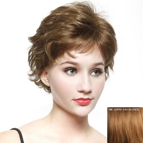 Outfit Bouffant Short Wave Fashion Inclined Bang Real Natural Hair Wig For Women - DARK ASH BLONDE  Mobile