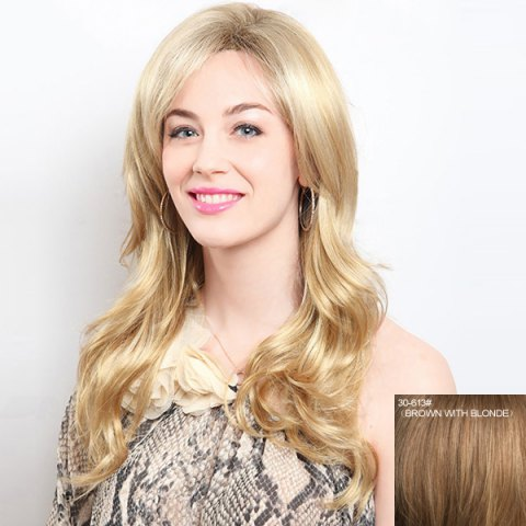 Discount Shaggy Wave Capless Vogue Long Side Bang Real Human Hair Wig For Women