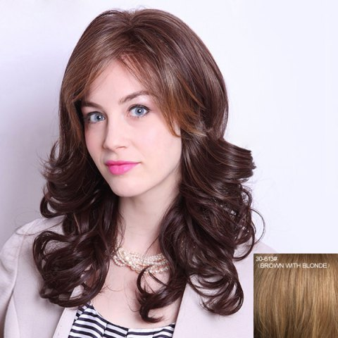 Shop Human Hair Charming Long Side Bang Capless Fluffy Curly Wig For Women
