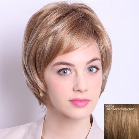Fashion Noble Inclined Bang Capless Fashion Short Layered Straight Human Hair Wig For Women