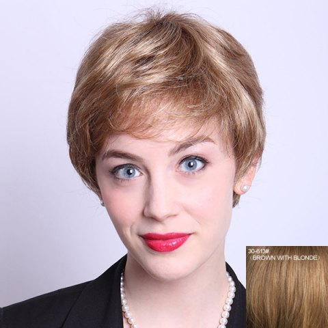 Online Stylish Short Side Bang Fluffy Natural Wave Capless Human Hair Wig For Women