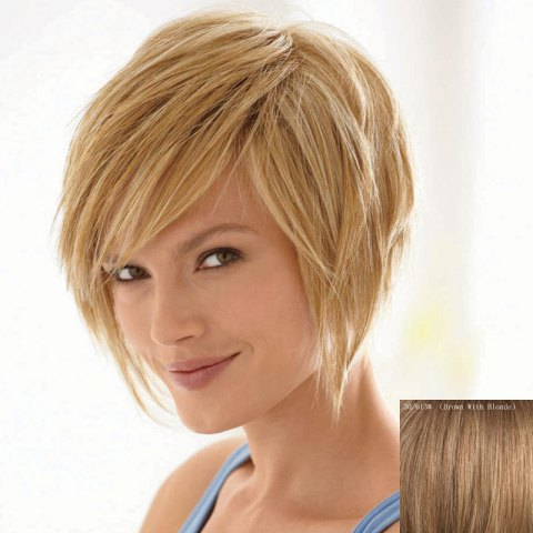 Online Bouffant Natural Straight Capless Vogue Short Side Bang Human Hair Wig For Women