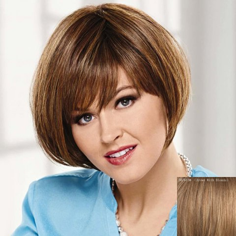 Discount Attractive Side Bang Capless Bob Style Straight Short Human Hair Wig For Women