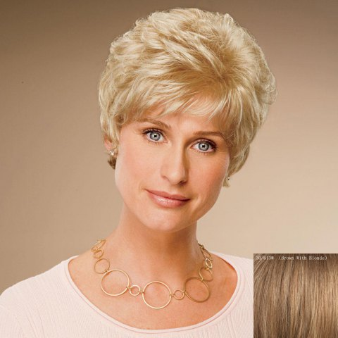 Buy Ladylike Short Inclined Bang Flufyy Wavy Capless Real Human Hair Wig For Women