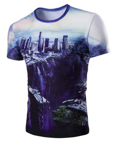 Shops The Fall of the City 3D Print Round Neck Short Sleeve T-Shirt For Men COLORMIX M