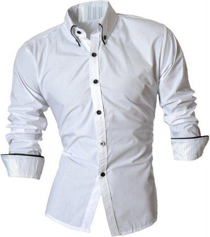 Latest Turn-Down Collar Button-Down Stripe Hemming Design Long Sleeve Shirt For Men WHITE M