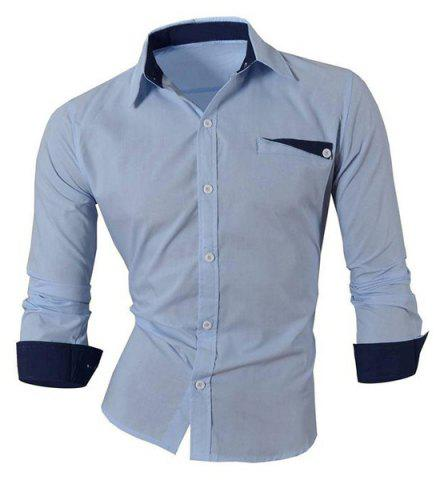 Hot Sale unique poitrine Turn Down Collar Shirt Pour Hommes