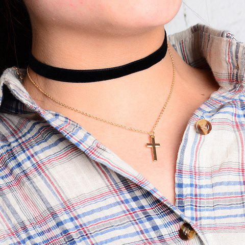 Sale Rock Small Cross Pendant Double Chokers Necklace