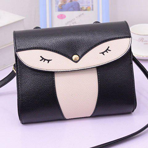 Affordable Casual Cover and Color Block Design Crossbody Bag For Women - BLACK  Mobile