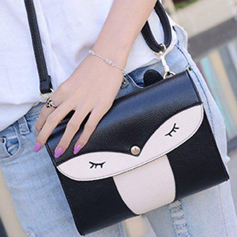 Discount Casual Cover and Color Block Design Crossbody Bag For Women - BLACK  Mobile
