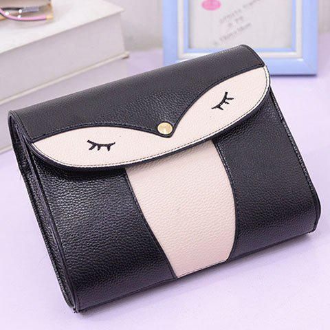 Fancy Casual Cover and Color Block Design Crossbody Bag For Women - BLACK  Mobile