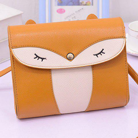 Trendy Casual Cover and Color Block Design Crossbody Bag For Women - YELLOW  Mobile