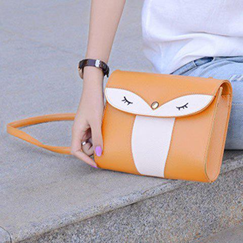 Affordable Casual Cover and Color Block Design Crossbody Bag For Women - YELLOW  Mobile