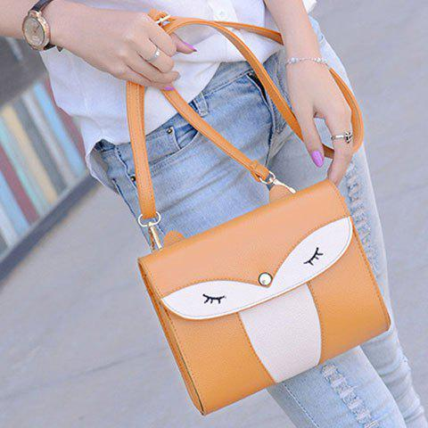 Fancy Casual Cover and Color Block Design Crossbody Bag For Women - YELLOW  Mobile