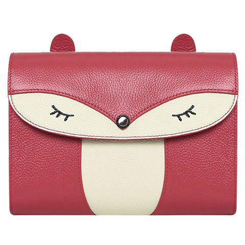 Casual Cover and Color Block Design Crossbody Bag For Women - Wine Red - 42