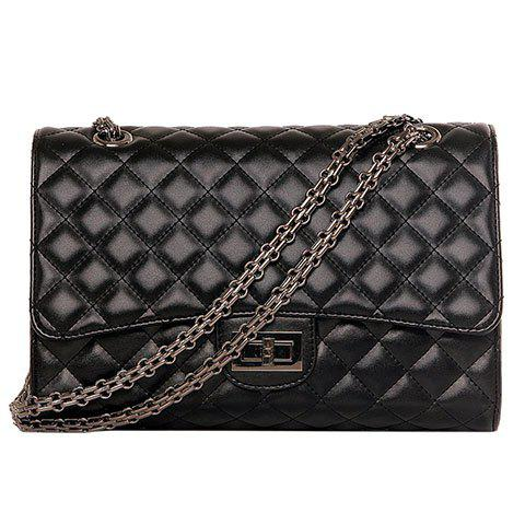 Fancy Vintage Black Color and Checked Design Crossbody Bag For Women