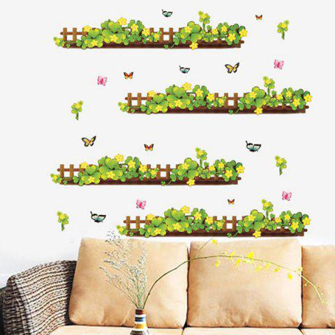 Best Fashion Plants Fence Pattern Baseboard Wall Sticker For Bedroom Livingroom Decoration COLORMIX