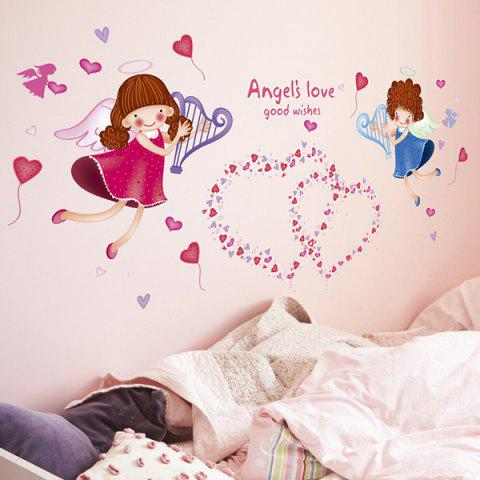 Shops Sweet Heart Angle Pattern Wall Stickers For Girl Bedrooms COLORMIX