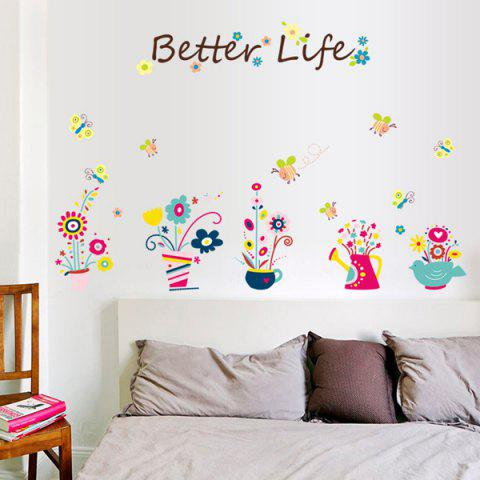 Discount Fashion Cartoon Bee and Bonsai Pattern Wall Sticker For Bedroom Livingroom Decoration