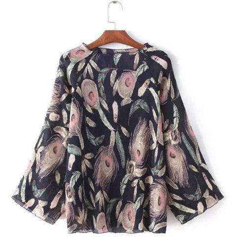 Online Stunning Jewel Neck Long Sleeves Feather Print Blouse For Women