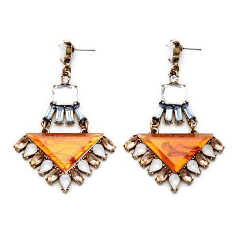 New Pair of Vintage Faux Gem Triangle Water Drop Earrings For Women