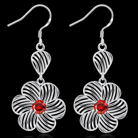 Trendy Pair of Blossom Rhinestone Hollow Out Earrings RED