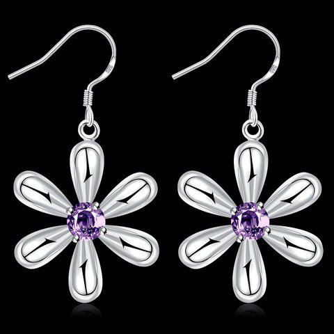 Cheap Pair of Alloy Faux Amethyst Blossom Earrings